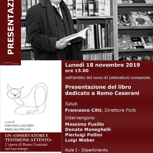 Presentazione del libro dedicato a Remo Ceserani